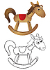 Vector clipart: Wooden rocking horse