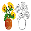 Sunflower in vase | Stock Vector Graphics