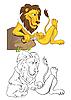 León hambriento | Ilustración vectorial