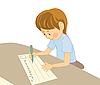 Writing boy   Stock Vector Graphics