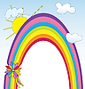 Vector clipart: card with rainbow frame