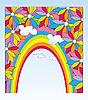 Векторный клипарт: открытка с рамкой из радуги