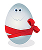 Funny egg with red bow