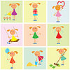 Vector clipart: background with girls