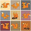 Vector clipart: Funny squirrels