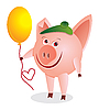 Vector clipart: piglet with air balloon