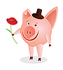 Vector clipart: Piglet with flower