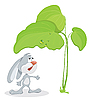 Surprised rabbit under leaf