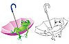 Vector clipart: frog on umbrella