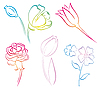 Vector clipart: art line flowers
