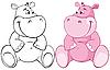 Pink hipopótamo | Ilustración vectorial