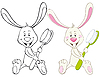 Vector clipart: Bunny and toothbrush