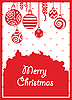 Red christmas card with balls