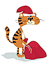 Vector clipart: Cat - Santa Claus with gifts
