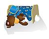 Photo 300 DPI: Bear cub looking under bed