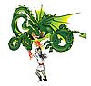 ID 3056179 | Dreiköpfiger Drache und Held | Illustration mit hoher Auflösung | CLIPARTO
