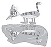 Vector clipart: Grey cat and pool
