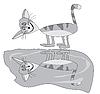 Vektor Cliparts: Graue Katze und einen Pool