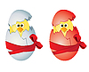 Vector clipart: Easter eggs and chickens