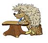 刺猬坐在课桌 | 向量插图