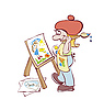 Artist painting at the easel | Stock Vector Graphics