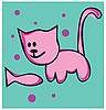 Vector clipart: cat and fish