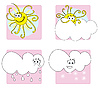 Vector clipart: sun and cloud icons