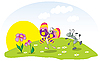 Vector clipart: Ant and butterfly