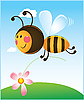 Bee and flower | Stock Vector Graphics