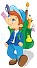 Vector clipart: Boy with backpack