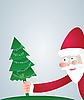 Vector clipart: Santa and Christmas tree