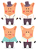Vector clipart: Cartoon male pigs
