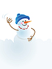 Vector clipart: Christmas snowman and snowball