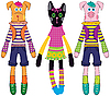 Vector clipart: Dolls - dog, cat and pig