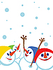 Vector clipart: Christmas card with snowmen