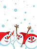 Kartka świąteczna z bałwanki | Stock Vector Graphics