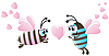 Vector clipart: Two bee and hearts