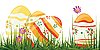 Vector clipart: Easter eggs in grass