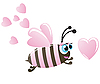 Bee and hearts