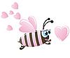 Векторный клипарт: Пчела и сердца