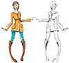 Векторный клипарт: Эскиз девушка - цвет и контур