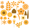 Vector clipart: flowers and leaves