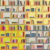 Vector clipart: Four seamless bookshelf backgrounds