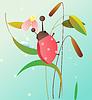 Vector clipart: Ladybird on flower