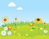 Vector clipart: Blooming lawn background