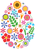 Векторный клипарт: Цветы пасхальное яйцо