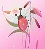 Векторный клипарт: Божья коровка на цветке