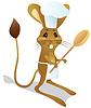 Векторный клипарт: Тушканчик шеф-повар с ложкой