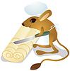 Векторный клипарт: Тушканчик шеф-повар режет тесто