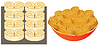 Vector clipart: Pastry on baking sheet and on plate